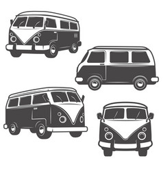 Set of retro hippie buses isolated on white vector