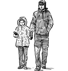 Sketch a man with a his kid vector