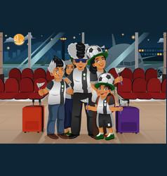 soccer fans traveling vector image