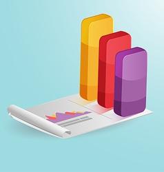 Stock market Column graph colorful vector image