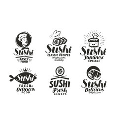 Sushi and rolls logo or label japanese food menu vector