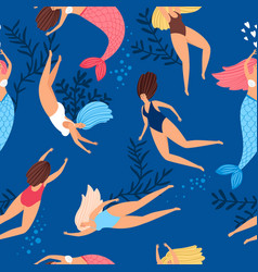swimmers girls and mermaids pattern vector image