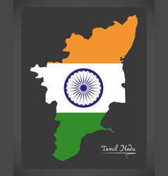 Tamil nadu map with indian national flag vector