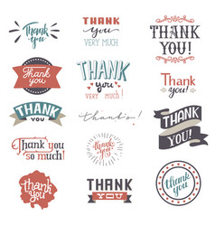 Thank you card set text thankful lettering vector