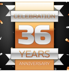 Thirty six years anniversary celebration golden vector