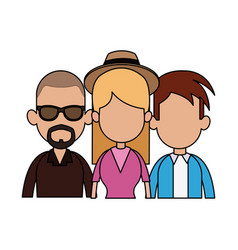 Three people cartoon icon imag vector