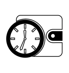 Time clock with wallet isolated icon vector