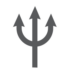 Trident glyph icon spear and devil pitchfork vector