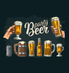 Two hands holding beer glasses mug glass can vector