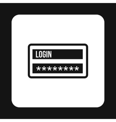 Username and password icon simple style vector