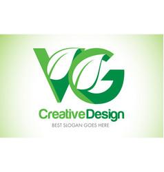vg green leaf letter design logo eco bio leaf vector image