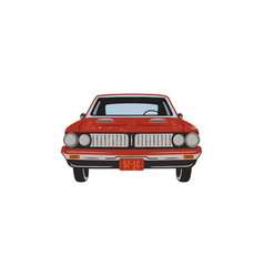 Vintage hand drawn muscle car retro red car vector