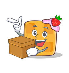 Waffle character cartoon design with box vector