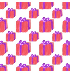 Watercolor seamless pattern with gift box on the vector image