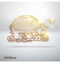 with Feng Shui turtle vector image