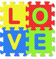Word LOVE written with alphabet puzzle letters vector image