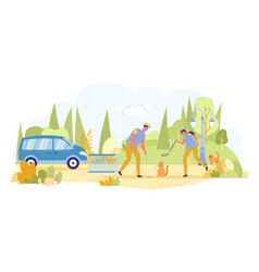 Work on catching stray cats in city streets flat vector