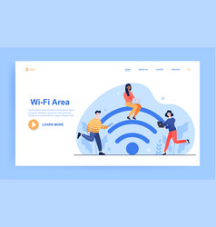 young male and female characters are using wifi vector image