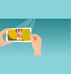 Young man making selfie vector
