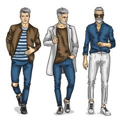 Young man models vector