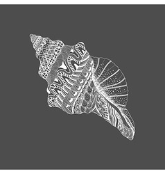 Zentangle stylized black sea cockleshell Hand vector image