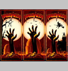zombie hand cemetery halloween vintage background vector image