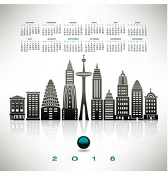 2018 calendar with a stylized cityscape vector image