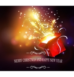 Christmas background with open red box vector image