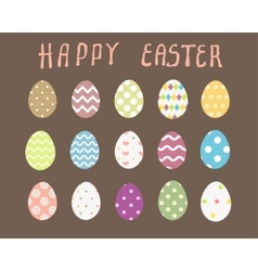 Easter eggs icons flat style vector image