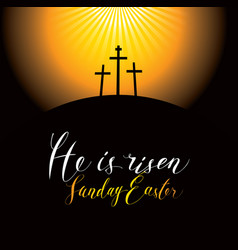 easter landscape with calvary and crosses vector image