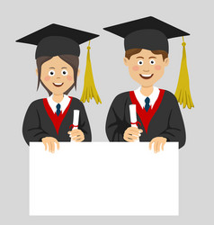 graduated teenager boy and girl with blank board vector image vector image