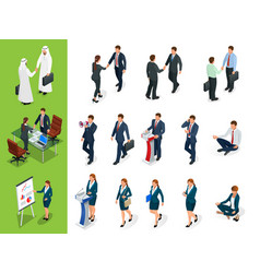isometric business characters poses handshake vector image vector image