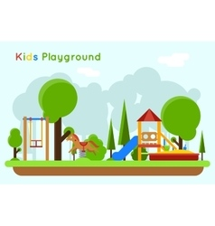 Kids playground flat concept background vector image vector image
