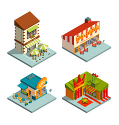restaurants and coffee houses isometric buildings vector image