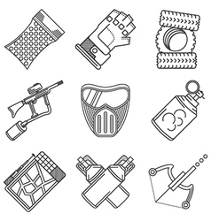 Set of black line icons for paintball vector image vector image