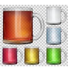 Set of transparent glass cups vector
