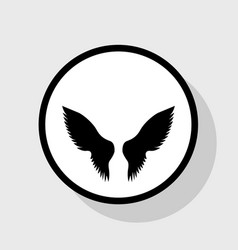 wings sign flat black icon vector image vector image