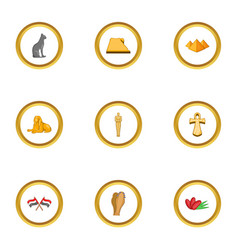 cairo icons set cartoon style vector image