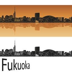 Fukuoka skyline in orange vector image vector image