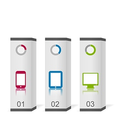 Set boxes with simple gadgets infographic icons vector image vector image