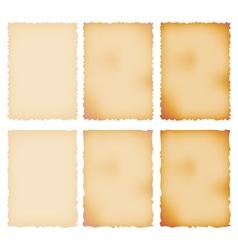 Burnt paper set torn border isolated on white vector
