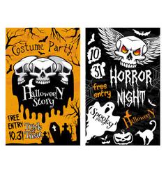 Halloween poster horror skull ghost vector