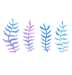 hand drawn watercolor blue twig set on the white vector image vector image