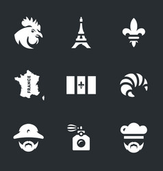 Set of france icons vector