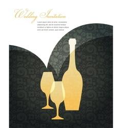 wedding invitation on black vector image vector image
