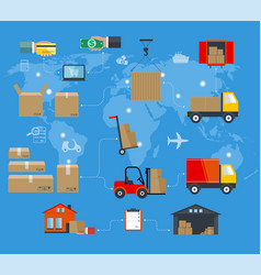 concept of services in delivery goods world vector image vector image