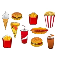 Fast food with meal and drinks vector image
