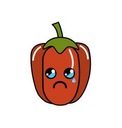 Kawaii cute crying pepper vegetable vector