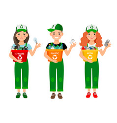 kids learning recycle trash waste recycling vector image vector image