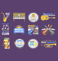 music festival logo badge entertainment vector image